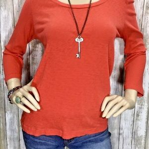 J CREW PAINTER T Large Coral Scoop Neck Top